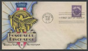 #940 HONORABLE DISCHARGE WWII VETERANS ON KNAPP HAND PAINTED FDC CACHET HW1088