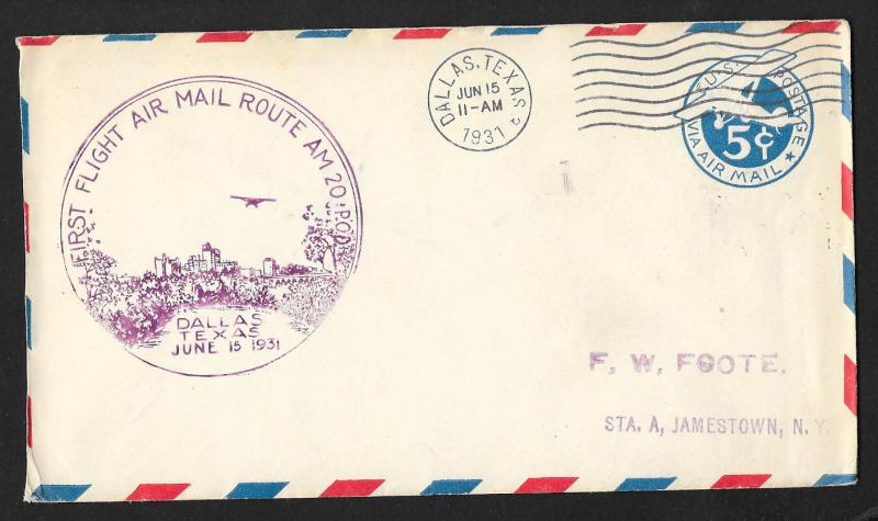 UNITED STATES First Flight Cover 1931 Dallas to Jamestown