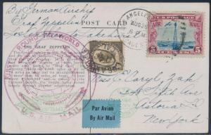 1929 FIRST ROUND THE WORLD SENT P.C. LOS ANGELES TO LAKEHURST (Si 29A) BS2984