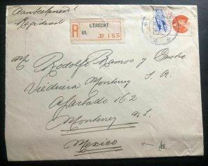 1934 Utrecht Netherlands Registered Cover To Monterrey Mexico