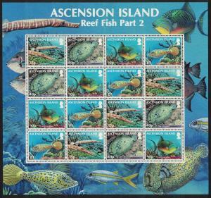 Ascension Reef Fish 2nd series 4v Sheetlet SG#1129-1132