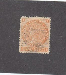 PRINCE EDWARD ISLAND # 11 VF-USED 1cts 1872 QUEEN VICTORIA /BROWN-ORANGE CV $10