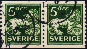 Sweden. 1920 5ore(Coil Pair) S.G.96Bb Fine Used