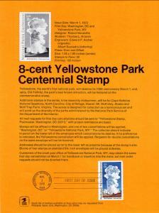 US SP305 Yellowstone 1453 Souvenir Page FDC
