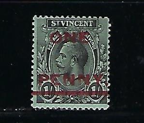 ST. VINCENT SCOTT #117 1915 1P ON 1 SH SURCHARGE- MINT LIGHT HINGED