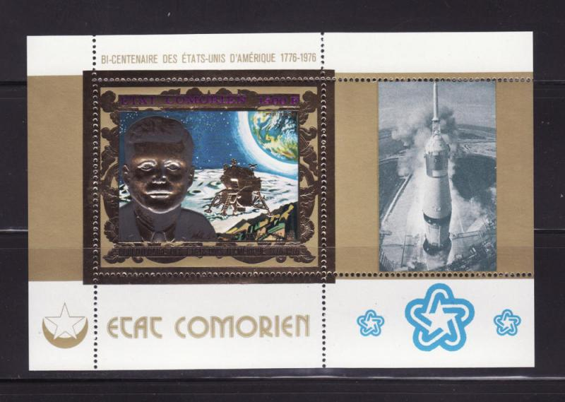 Comoro Islands 230 Gold SS MNH President John F Kennedy