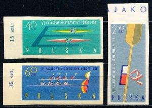 Poland #1006-1008 IMPERF Set of 3 MNH