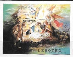 Lesotho Souvenir Sheet. Christmas #318  Cancelled 1980
