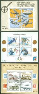 NORWAY #753, 765, 997, Three diff Souvenir sheets used Scott $23.50