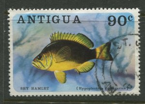 STAMP STATION PERTH Antigua #447 Fish Issue Used 1976 CV$0.80