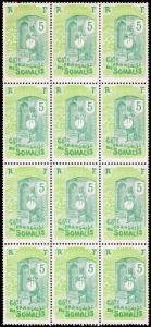 Somali Coast Scott 83 Blk. of 12 (1915) Mint H VF B