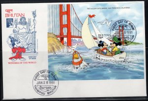 1991 BHUTAN FDI FDC FIRST DAY COVER DISNEY  STAMPS    LOT 6394