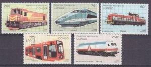 1991 Congo Brazzaville 1213-1217 Locomotives 8,50 €