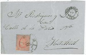 POSTAL HISTORY : SPAIN - edifil 64 on COVER: MATASELLO SALAMANCA 1864