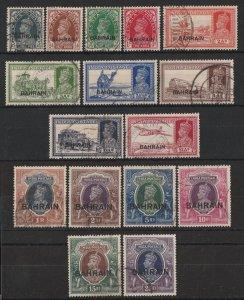 BAHRAIN : 1938 KGVI & Pictorial set 3p-25R.