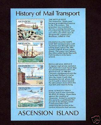 ASCENSION - 1980 -  MAIL TRANSPORT - SHIPS - LONDON 80 - MINT S/SHEET!