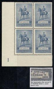 Australia, SG 157a, Mint blk 4 Apostrophe Flaw variety