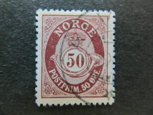 A5P28F51 Norway 1910-29 Wmk Post Horn 50o Redrawn Perf 14 1/2x13 1/2 used