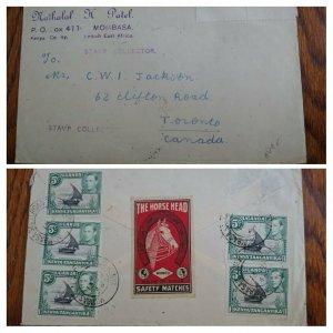 "UNIQUE 1948 KENYA INDIA ""MATCH BOX LABEL"" USED ON COVER TO CANADA UNIQUE DESTINA"