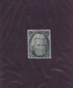 SC# 93 UNUSED OG H 2 CENT JACKSON, 1868, GRILL, VF XF, PF CERT.