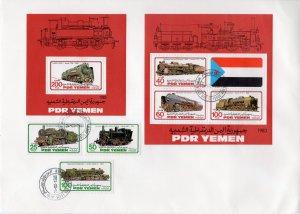 Yemen 1983 Sc#302/306 LOCOMOTIVES-TRAINS Set (3) + 2 S/S FDC Unaddressed
