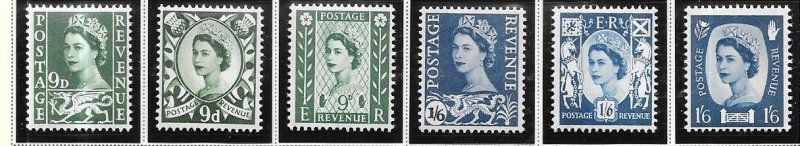 GB-Wales & Monmouthshire,Northern Ireland, Scottland 1967 issues CV $2.15