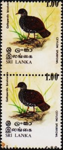 Sri Lanka. 1979 1r(Value Shifted Upwards). Pair. Stained. Unmounted Mint