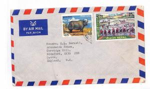 NEPAL Commercial Airmail Devon GB Cover {samwells-covers}PTS 1973 GG70