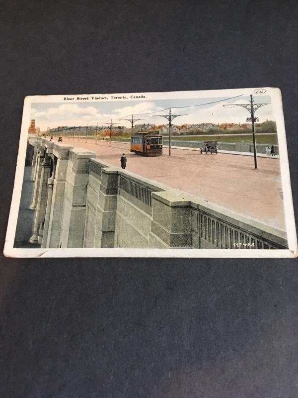 Canada Circa 1920 Photo Post Card Showing Bloor Viaduct Toronto Old Street Car