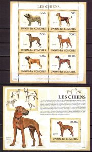 Comoro Islands. 2009. Small sheet 2135-40 bl477. dogs. MNH.