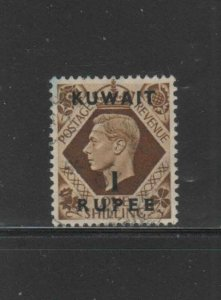 KUWAIT #79  1948  1r on 1sh   KING GEORGE VI SURCHARGED   F-VF  USED  j