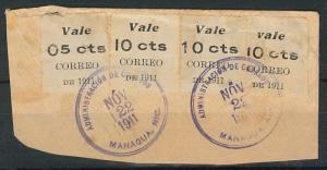 58647 -  NICARAGUA - POSTAL HISTORY: REVENUE STAMPS on small COVER CUT-OUT  1911