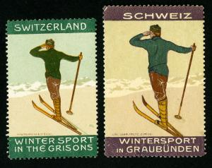 Switzerland Stamps # 2 Early Ski Labels