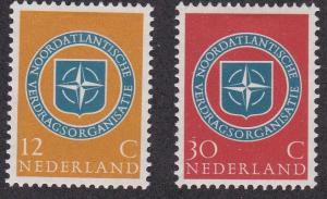 Netherlands # 377-378, Nato Emblem, 10th Anniversary, Hinged, 1/3 Cat.