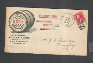 US Sc#220 Advertising Cover Pillsbury's Best Pottsville PA 1894