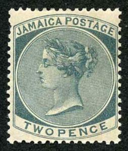 Jamaica SG20a 2d Slate Wmk Crown CA M/Mint (gum bend)