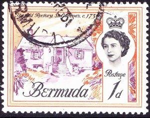 BERMUDA 1962 QEII 1d Reddish Purple, Black & Orange SG163 Used