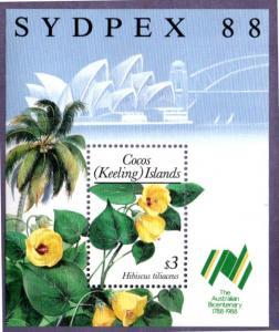 COCOS ISLAND 199 MH S/S SCV $9.00 BIN $4.25 HIBISCUS FLOWERS
