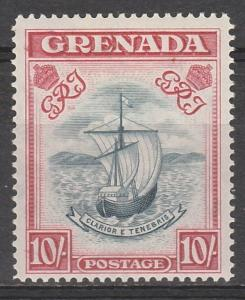 GRENADA 1938 SHIP 10/- SLATE BLUE AND CARMINE LAKE WIDE PRINTING PERF 14