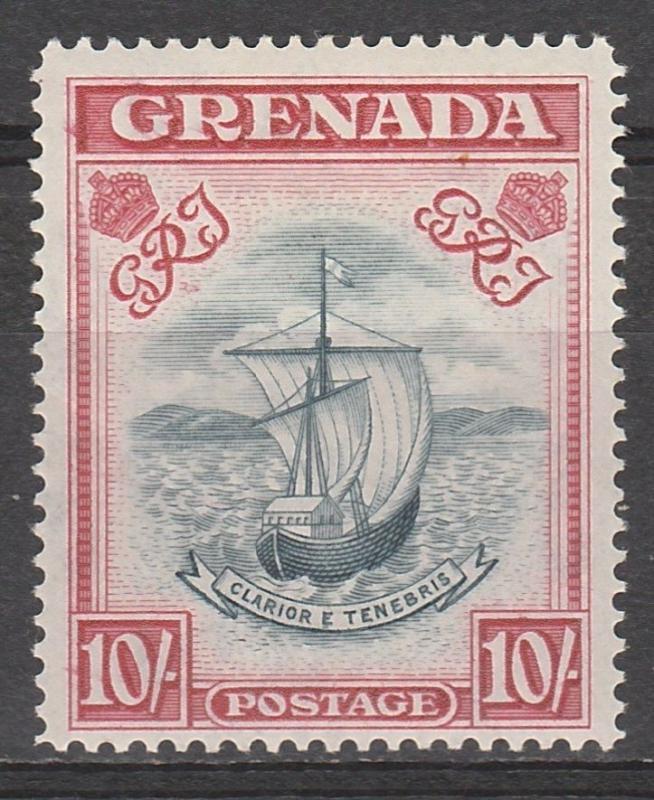 GRENADA 1938 SHIP 10/- SLATE BLUE AND CARMINE LAKE WIDE PRINTING PERF 14