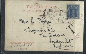 CHILE  (P3108B) 1906   COLUMBUS 5C ON PPC IOUIQUE  TO  LONDON  TAXED