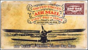 18-208, 2018, Airmail, Red, First Day Cover, Digital Color Postmark, 100 Years