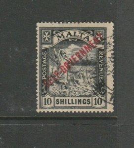 Malta 1922 Self Govt Script CA 10/- FU SG 121