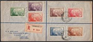 MADAGASCAR 1939 registered cover Tananarive to UK - nice franking..........63056