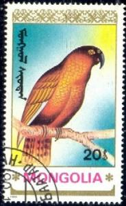 Bird, Parrot, Mongolia stamp SC#1896 used