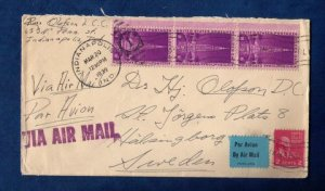 US Sc #852 Strip Of Three and Sc #806 On A Cover to Sweden F-VF