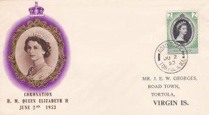 British Virgin Islands # 114, Queen Elizabeth's Coronation First Day Cover