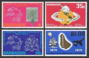 Barbados 412-415,MNH.Michel 381-384. UPU-100,1974.Globe,Arms,Ship,Jet.