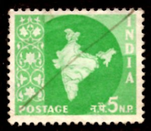 India 5np Map of India 1958 SG.402, Sc.305 Used (#05)