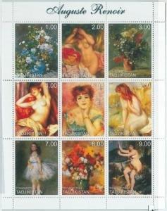 Tajikistan 1999 AUGUSTE RENOIR NUDES Paintings Sheet Perforated Mint (NH)